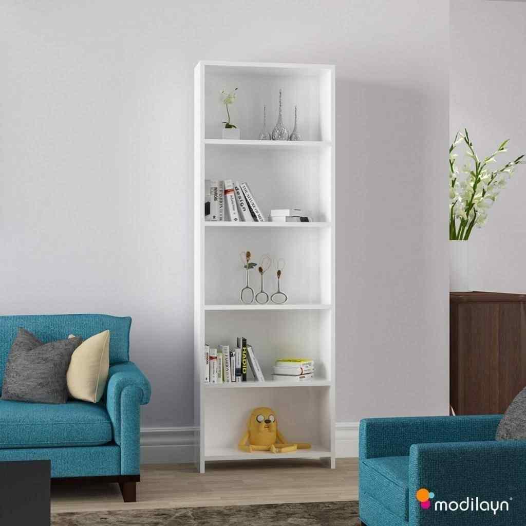 Mobil-Y 5 Raflı Kitaplık Kütüphane Beyaz Ard204