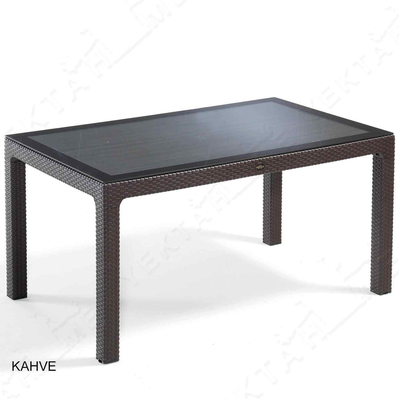 Novussi liverno Classi Rattan Masa Takımı Bahçe Takımı 90x150 Kahverengi