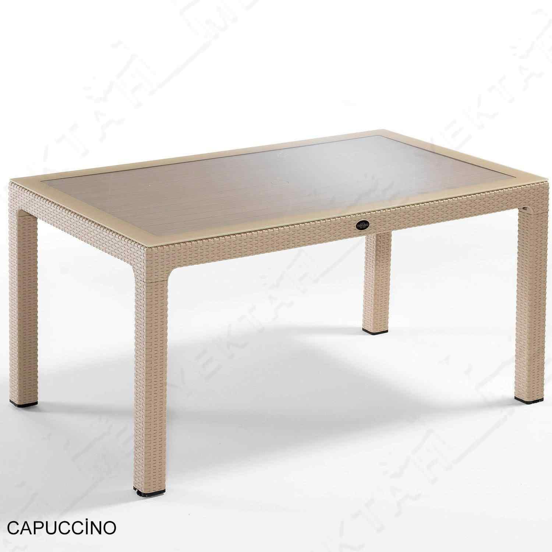 Novussi Liverno Rattan Masa Koltuk Takımı 90x150 Camlı Cappucino