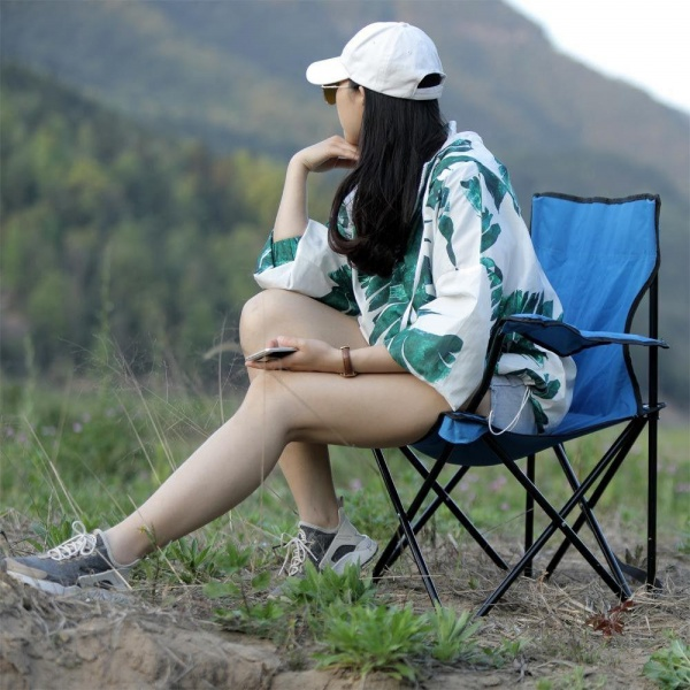Outyeer Çantalı Kamp Sandalyesi Balıkçı Plaj Piknik Koltuk Mavi 2 Adet