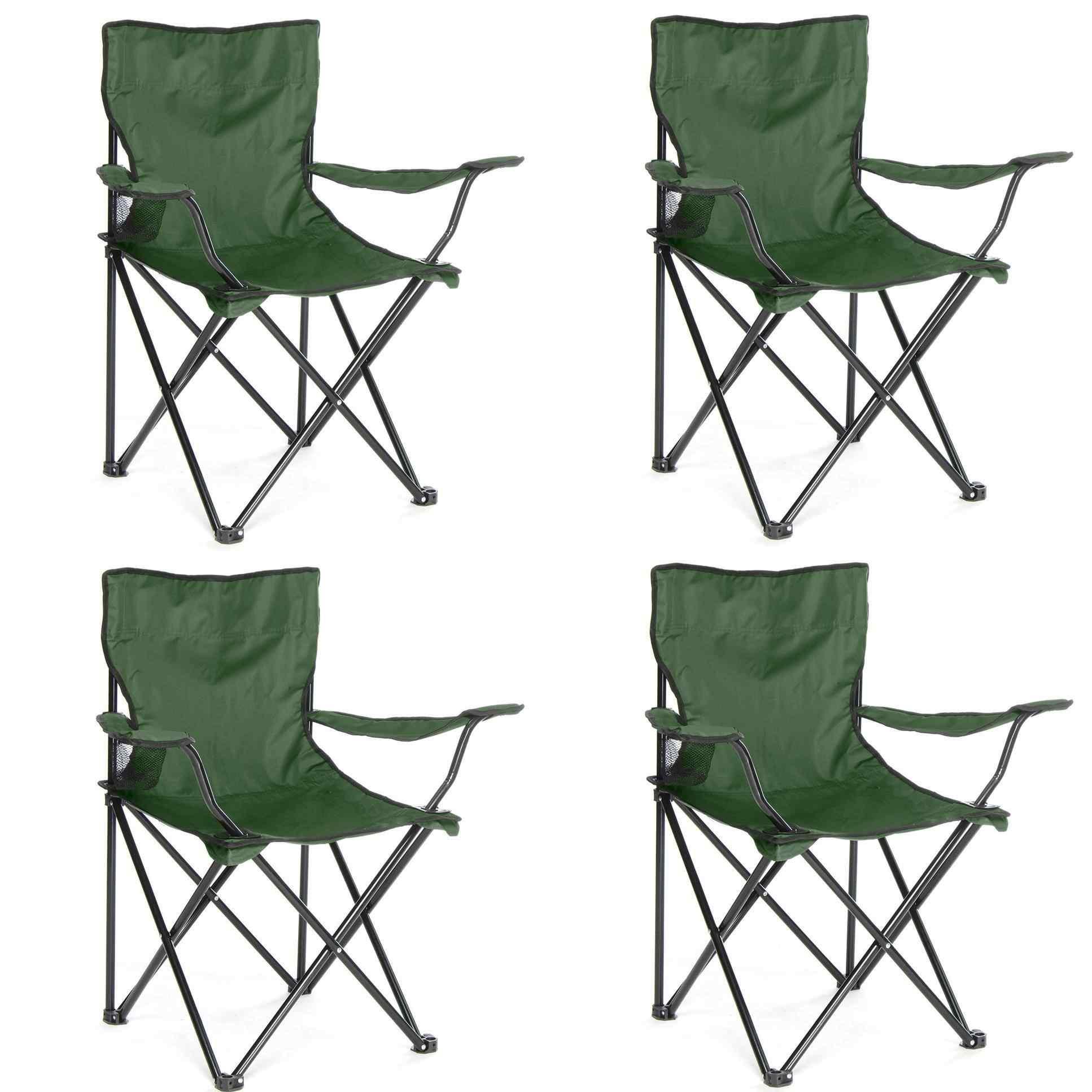 Çantalı Kamp Sandalyesi Balıkçı Plaj Piknik Koltuk Yeşil 4 Adet