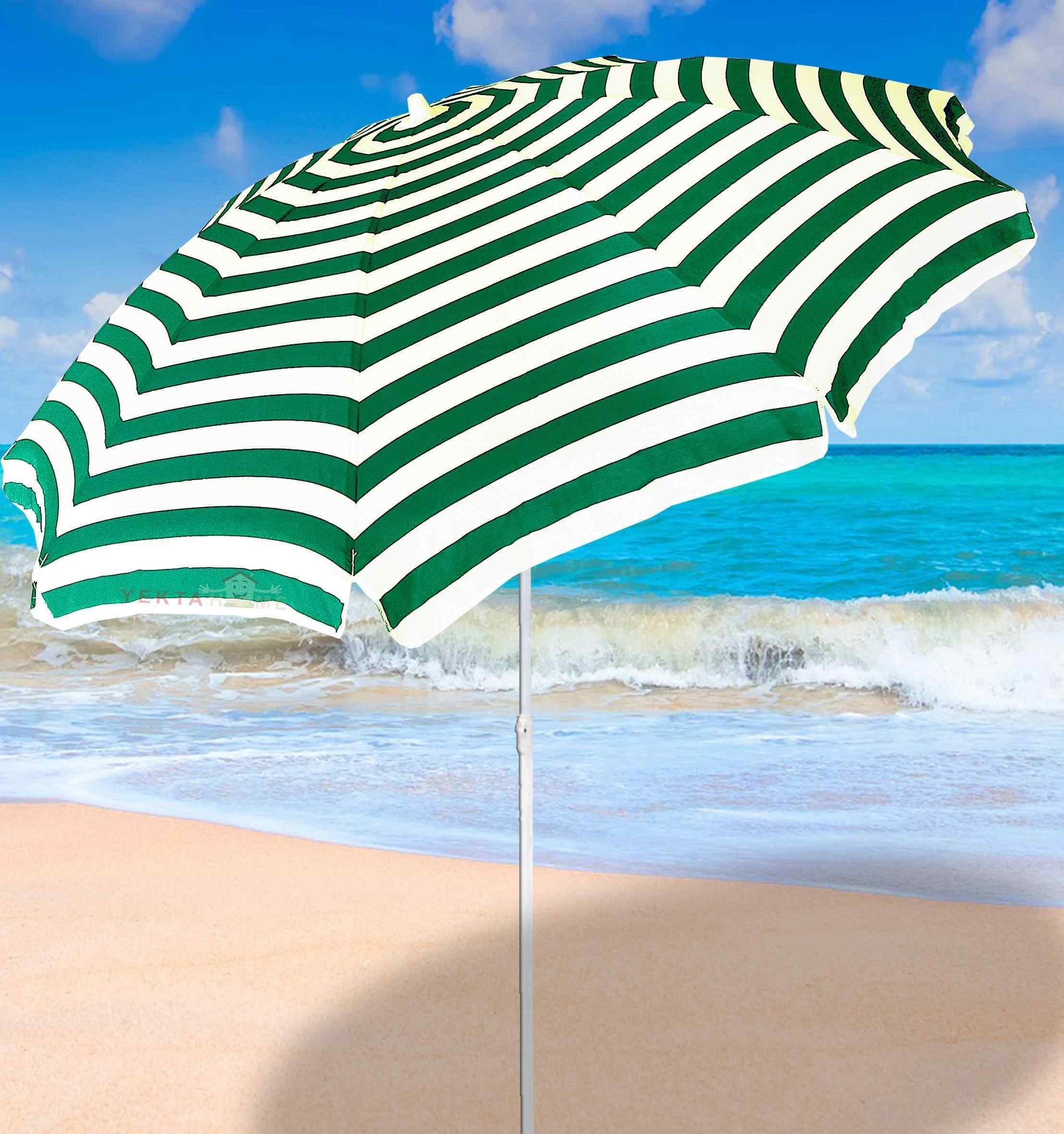 Plaj Şemsiyesi Havuz Şemsiye Bahçe Şemsiyeleri 200 cm Yeşil Beyaz