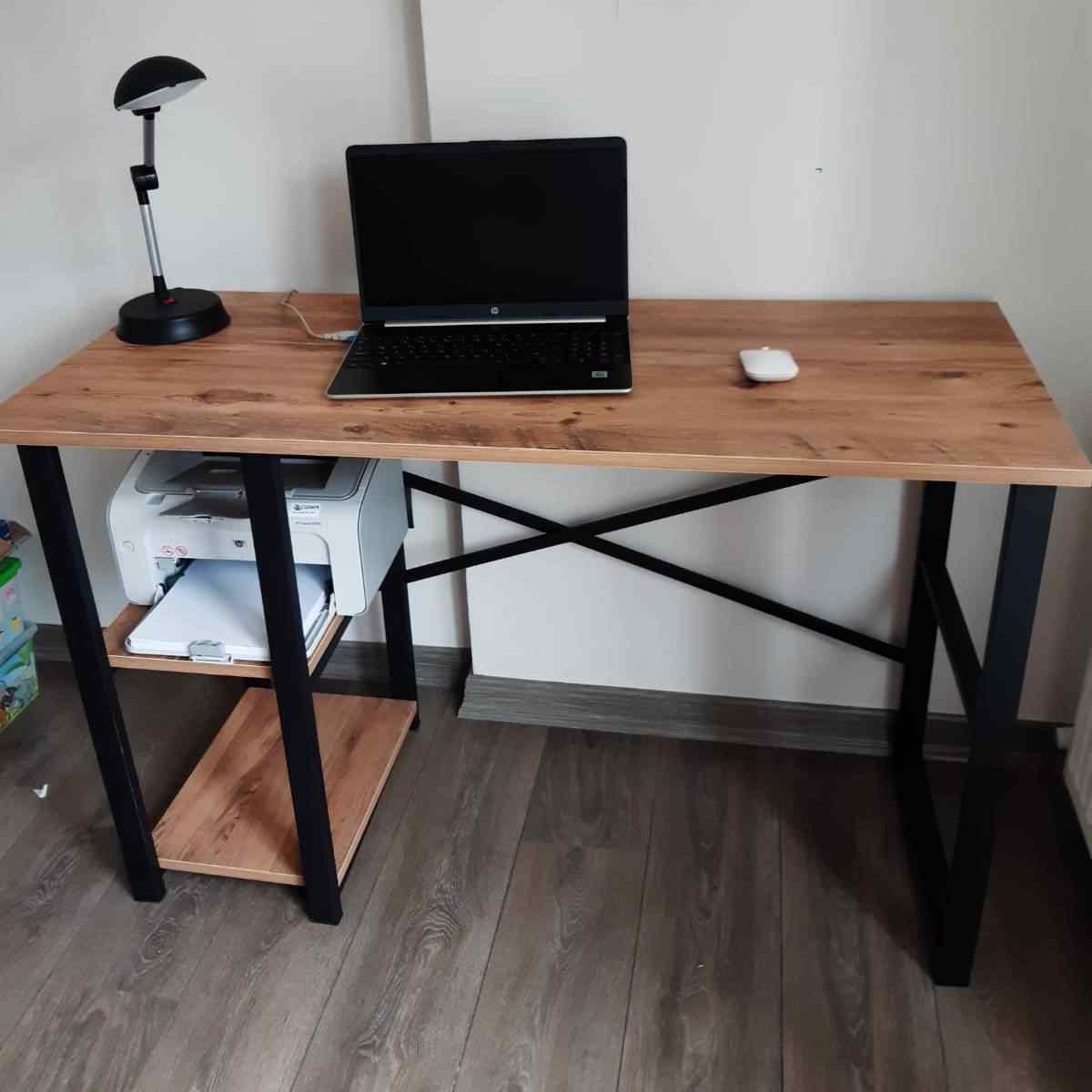 Beyza Çalışma Masası Metal Raflı Bilgisayar Masası Laptop Ofis Masaları 50x120 Cm