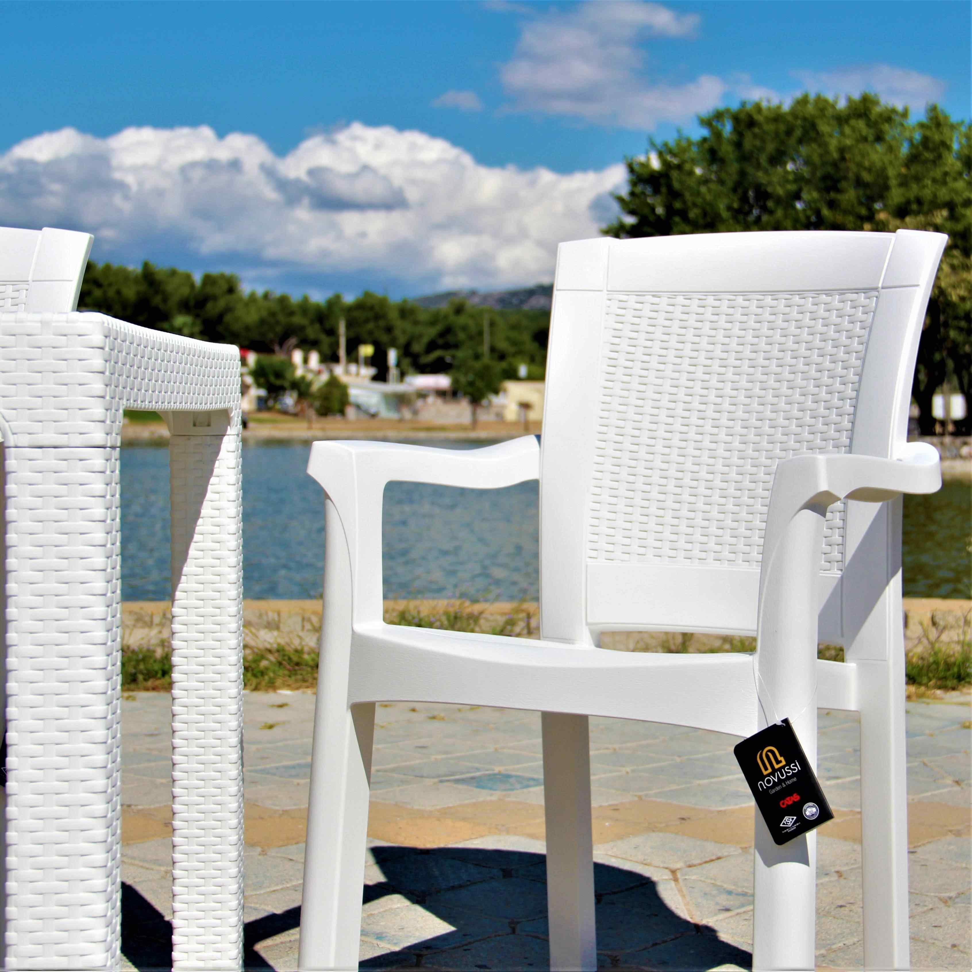 Novussi Roma Masa Seti Koltuk Takımı Camsız 90 x 150 Cm 6 Koltuk Beyaz