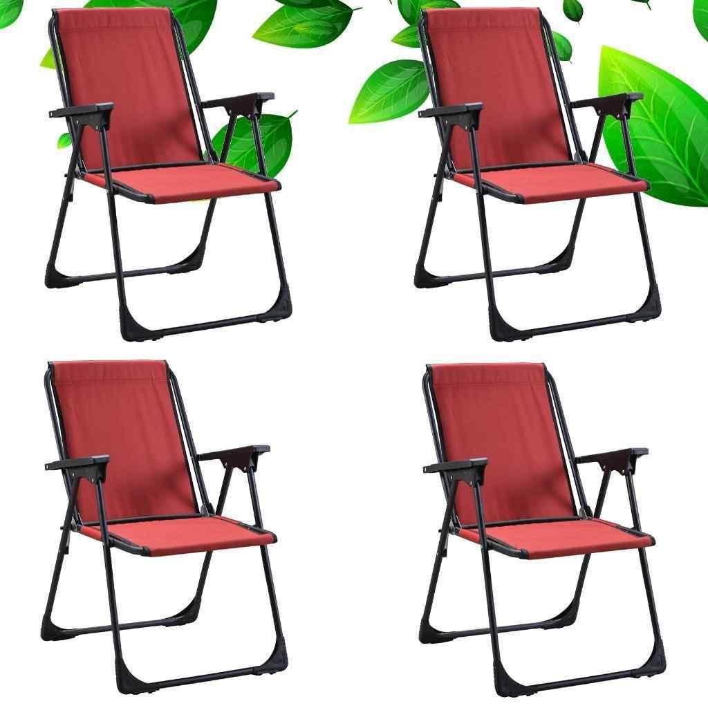 Yekta Star Piknik Plaj Sandalyesi Kamp Sandalyesi Kırmızı 4 Adet