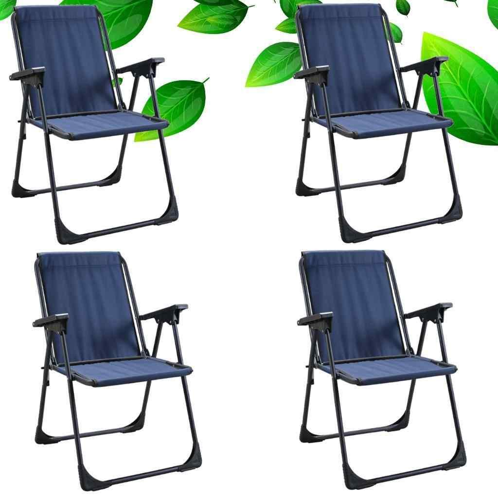 Yekta Star Piknik Plaj Sandalyesi Kamp Sandalyesi Mavi 4 Adet
