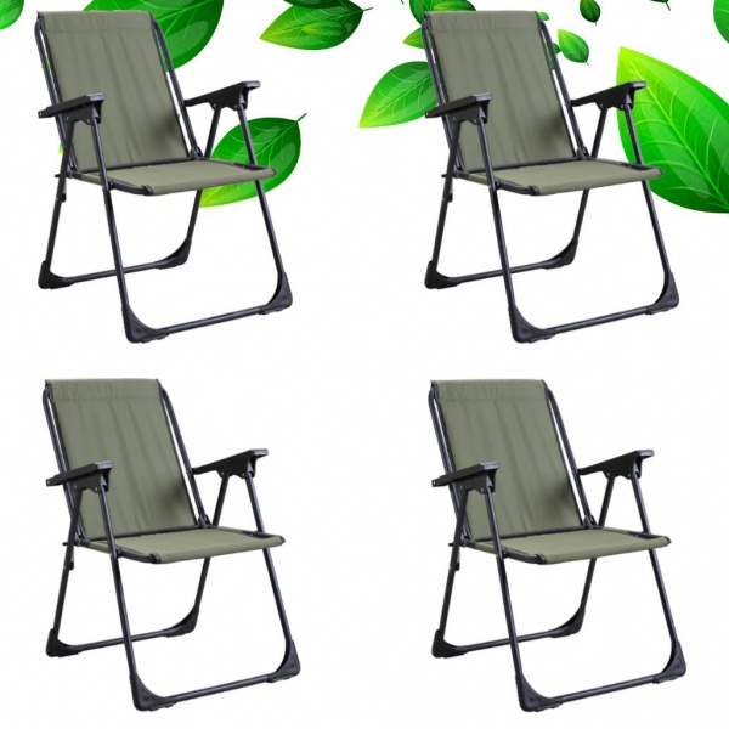 Yekta Star Piknik Plaj Sandalyesi Kamp Sandalyesi Yeşil 4 Adet