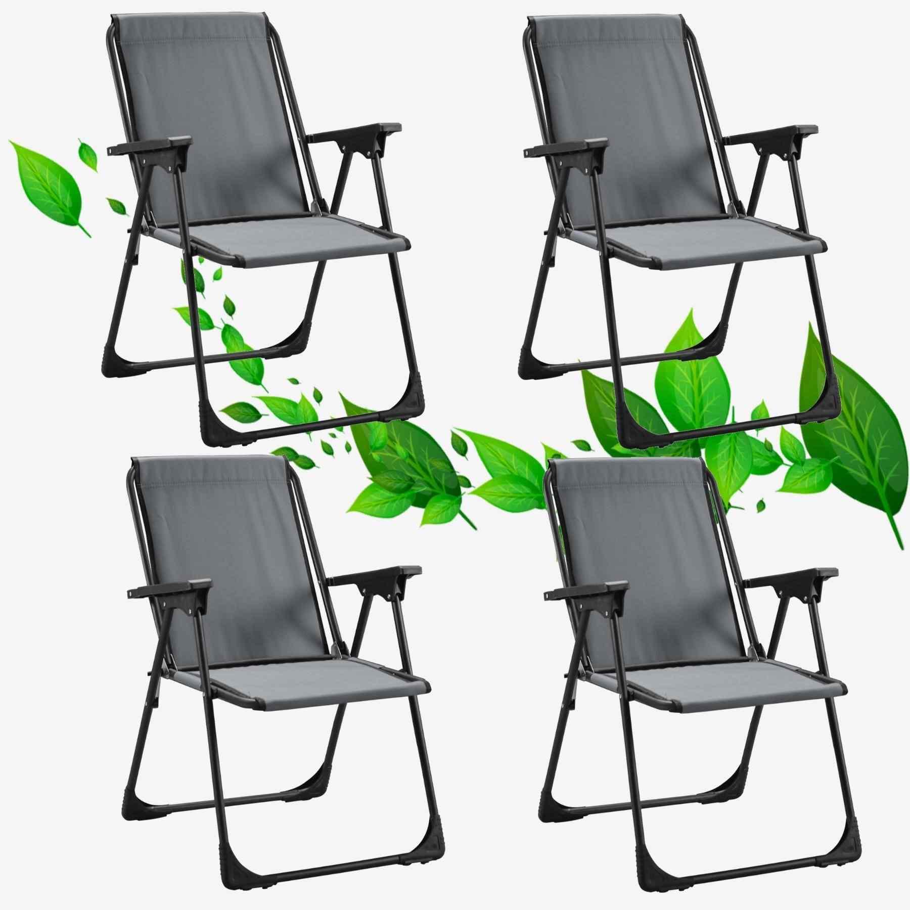 Star Katlanır Koltuk Piknik Plaj Sandalyesi Kamp Sandalyesi Gri 4 Adet