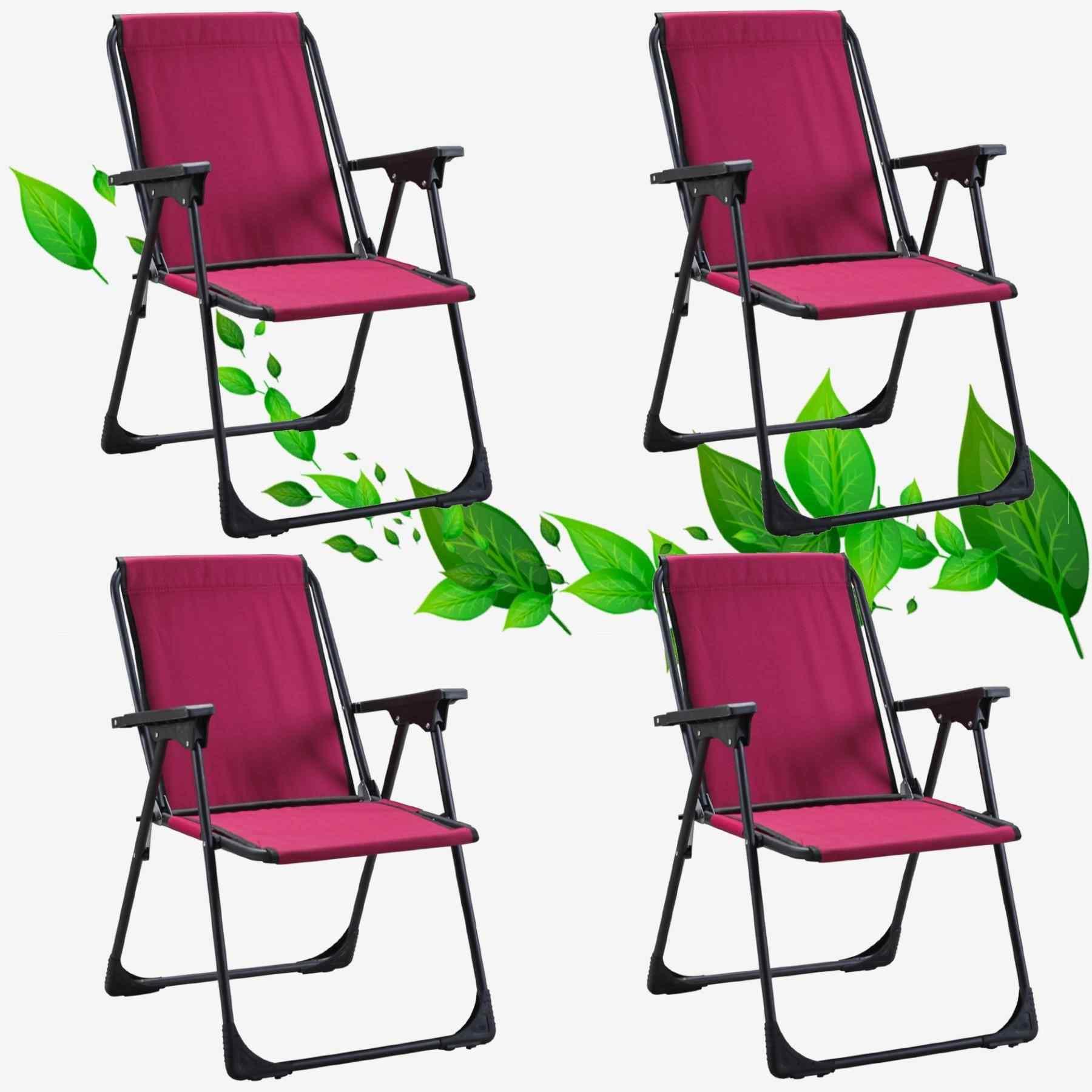 Star Katlanır Koltuk Piknik Plaj Sandalyesi Kamp Sandalyesi Bordo 4 Adet