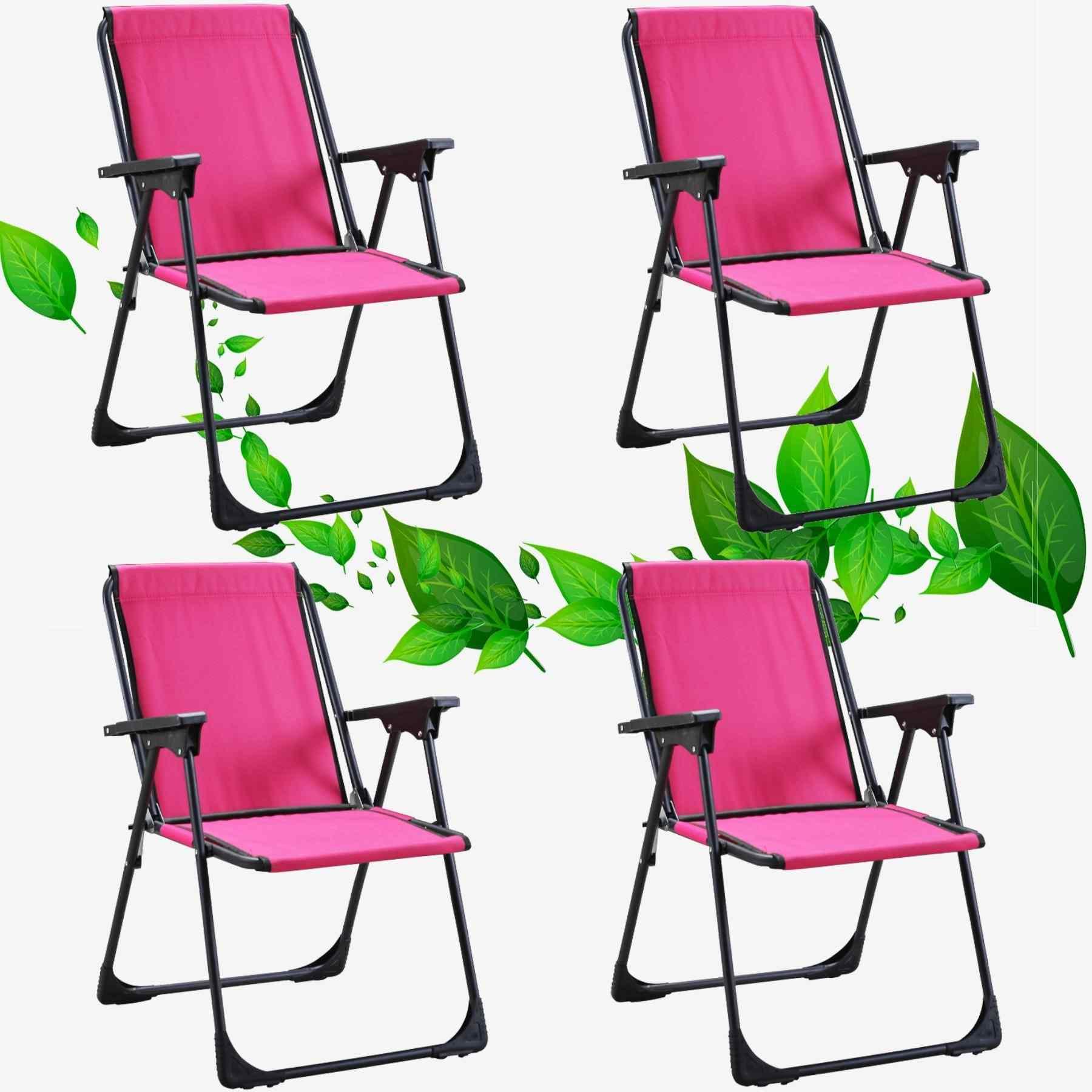Star Katlanır Koltuk Piknik Plaj Sandalyesi Kamp Sandalyesi Pembe 4 Adet