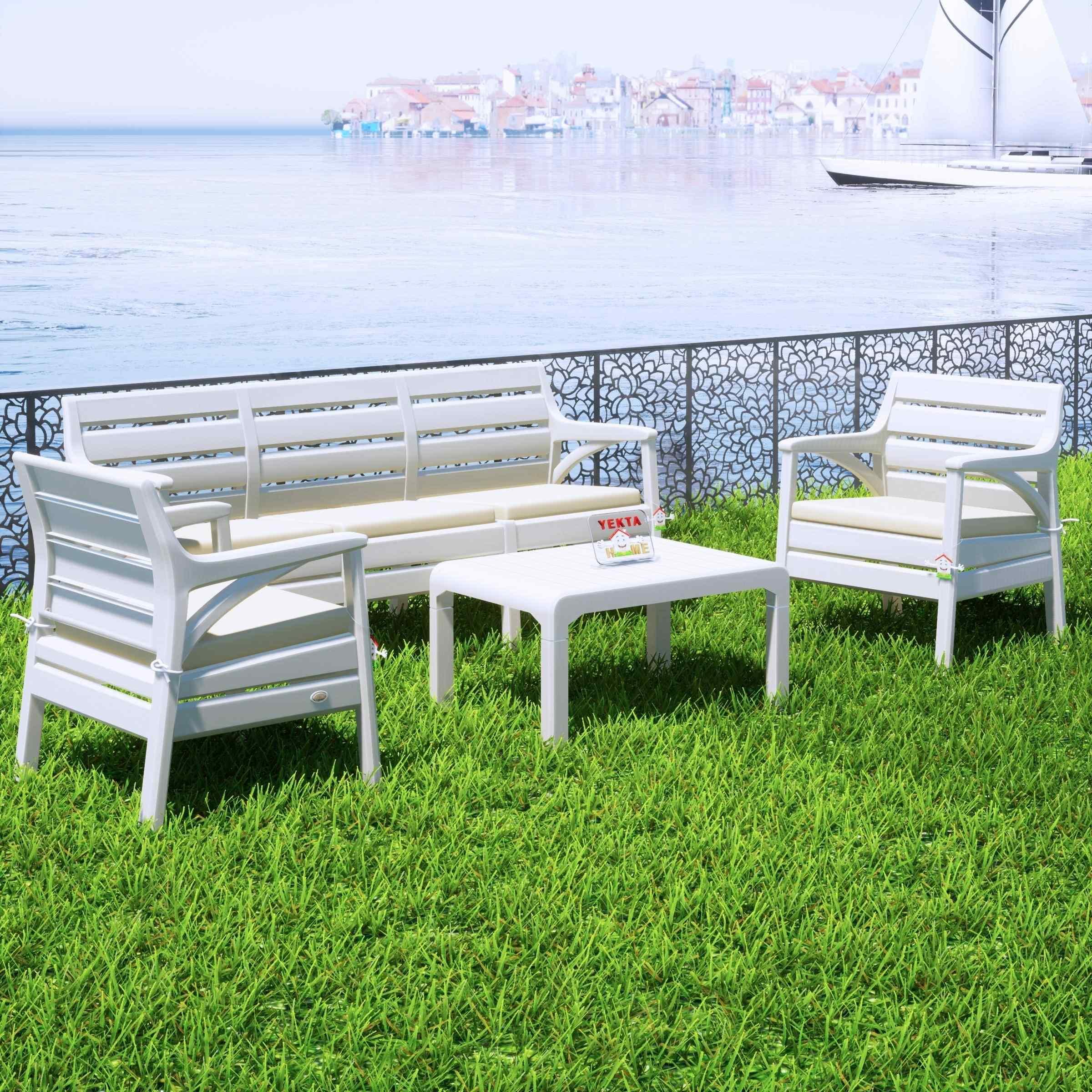Holiday Hawai Bahçe Mobilyası Oturma Grubu Balkon Koltuk Takımı Beyaz
