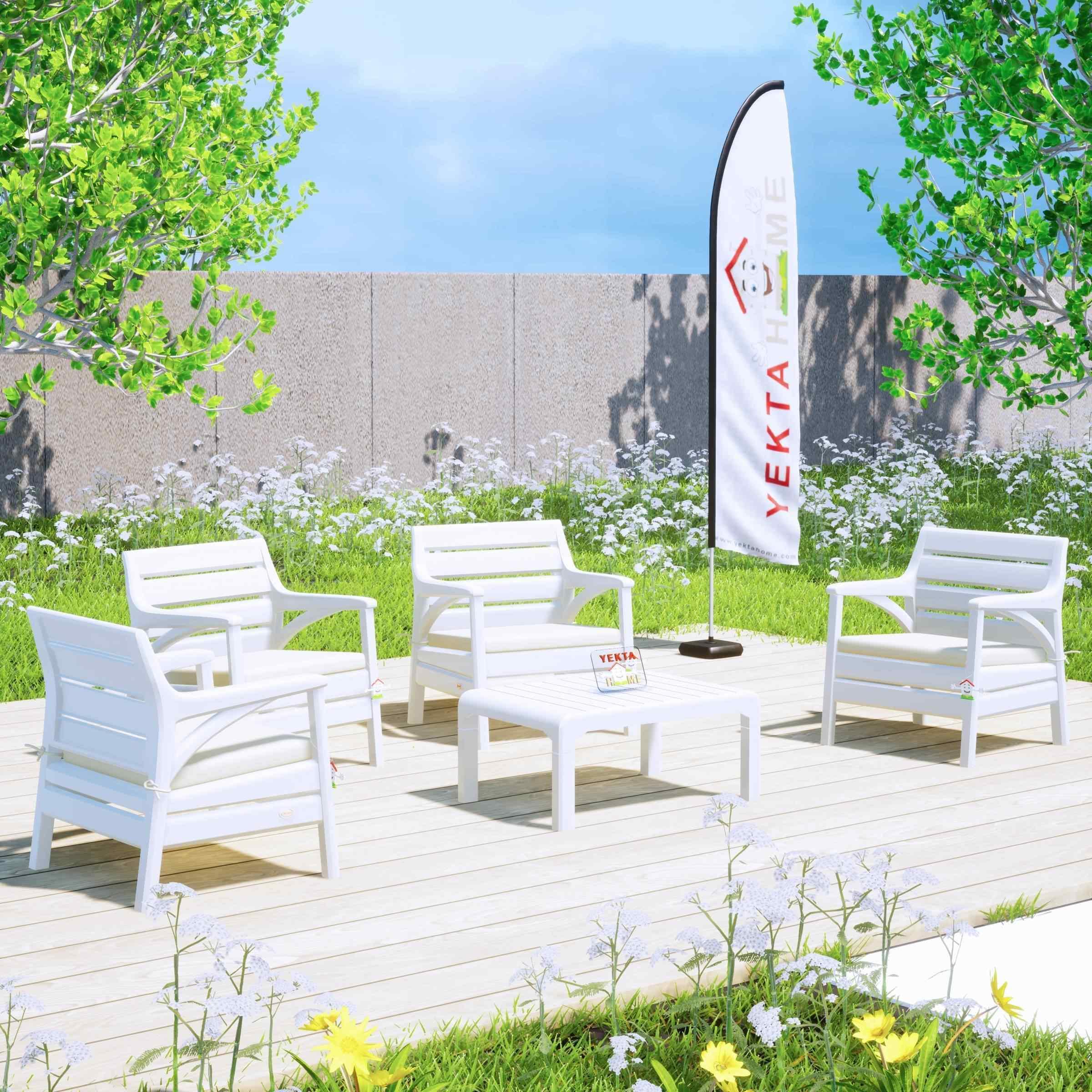 Holiday Madrid Bahçe Mobilyası Balkon Koltuk Takımı Beyaz