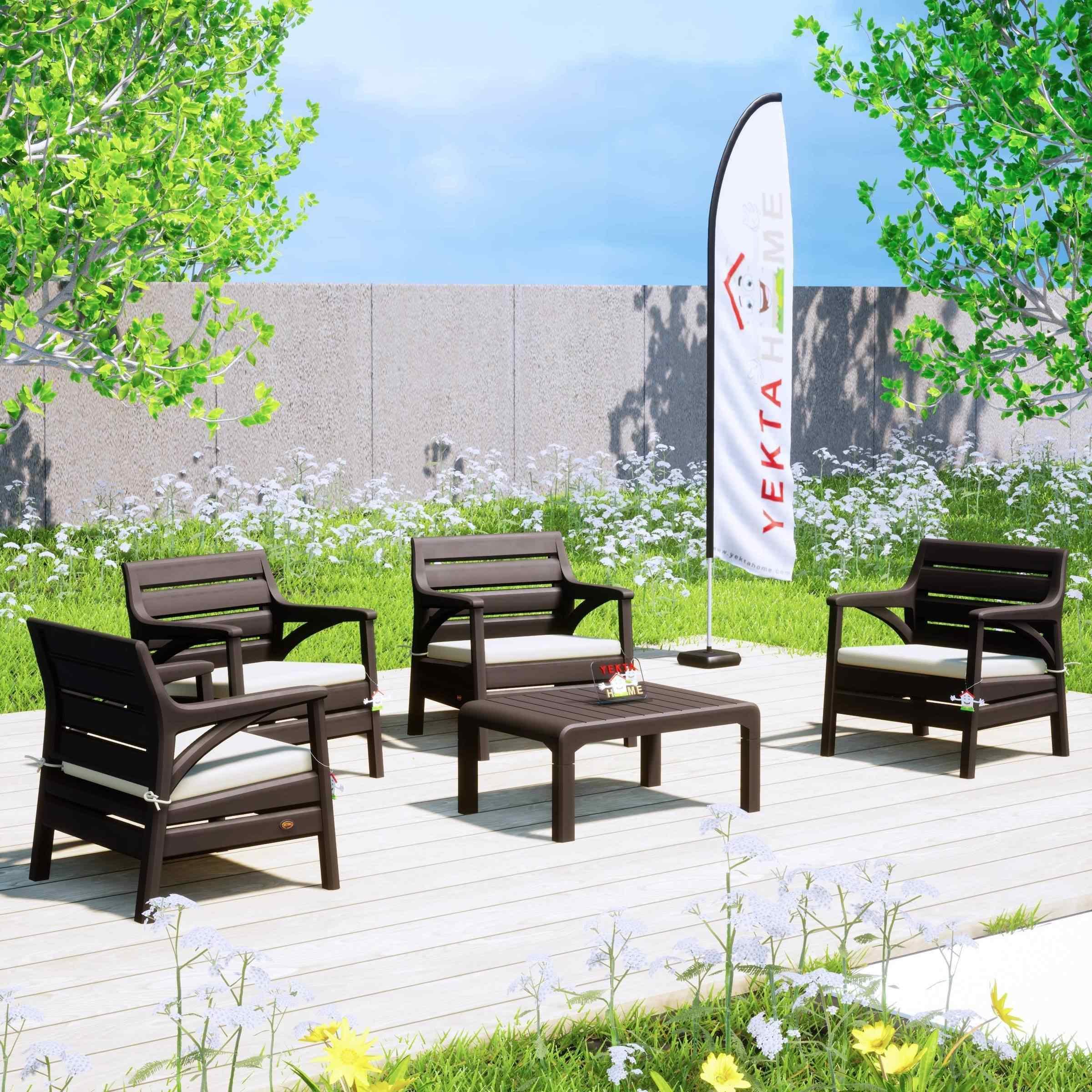 Holiday Madrid Bahçe Mobilyası Balkon Koltuk Takımı Kahverengi