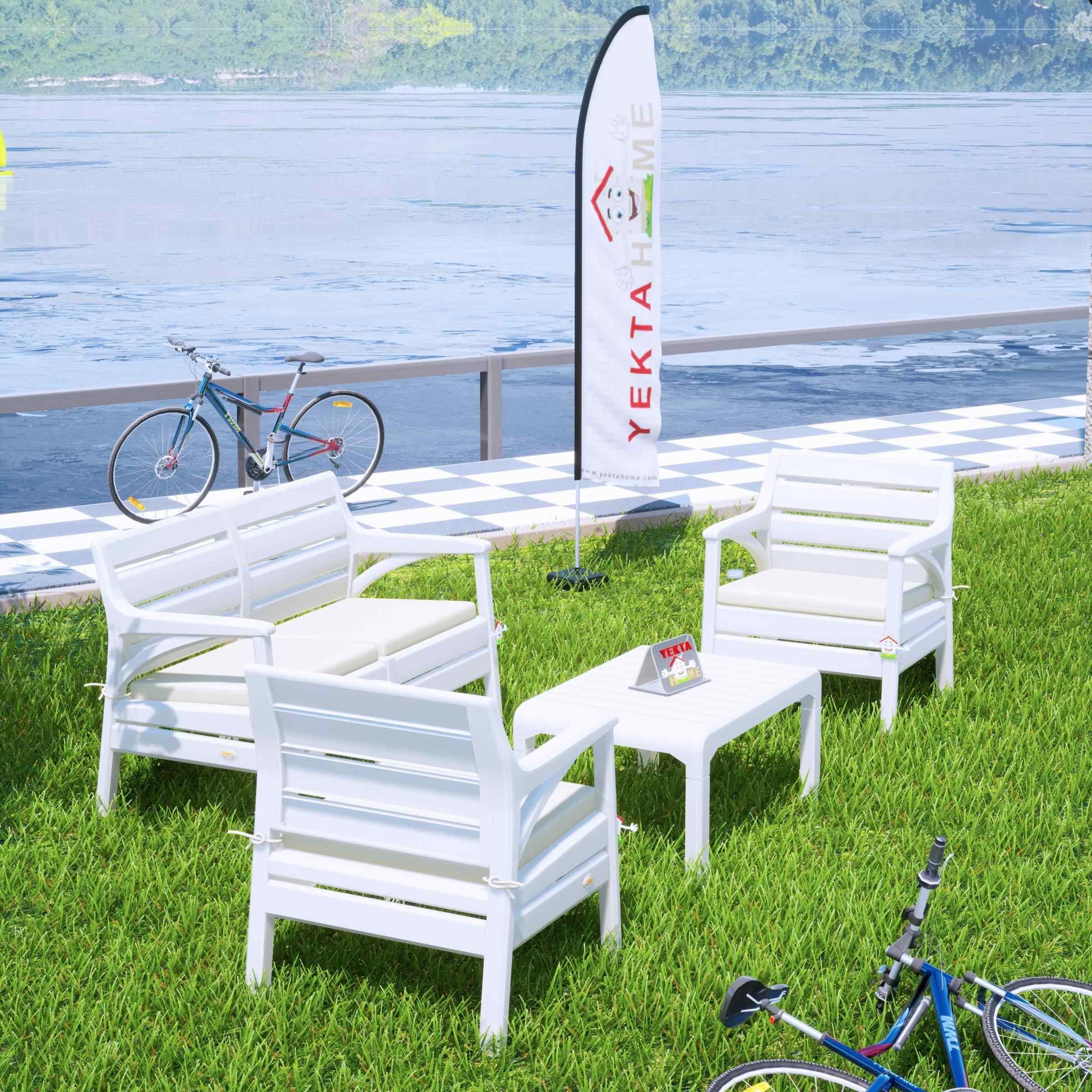 Holiday Miami Bahçe Takımı Balkon Seti Bahçe Mobilyası Beyaz