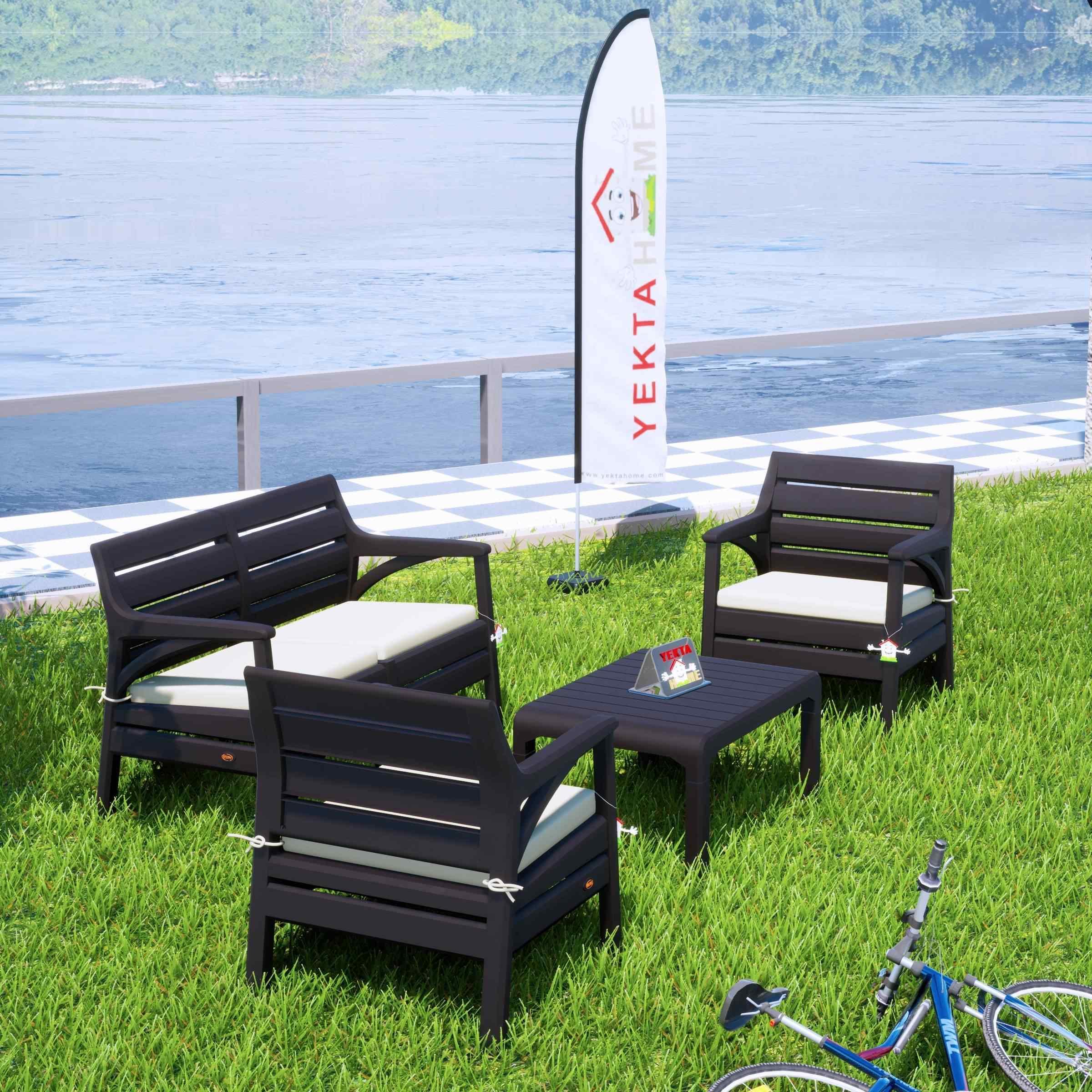 Holiday Miami Bahçe Takımı Balkon Seti Bahçe Mobilyası Kahverengi