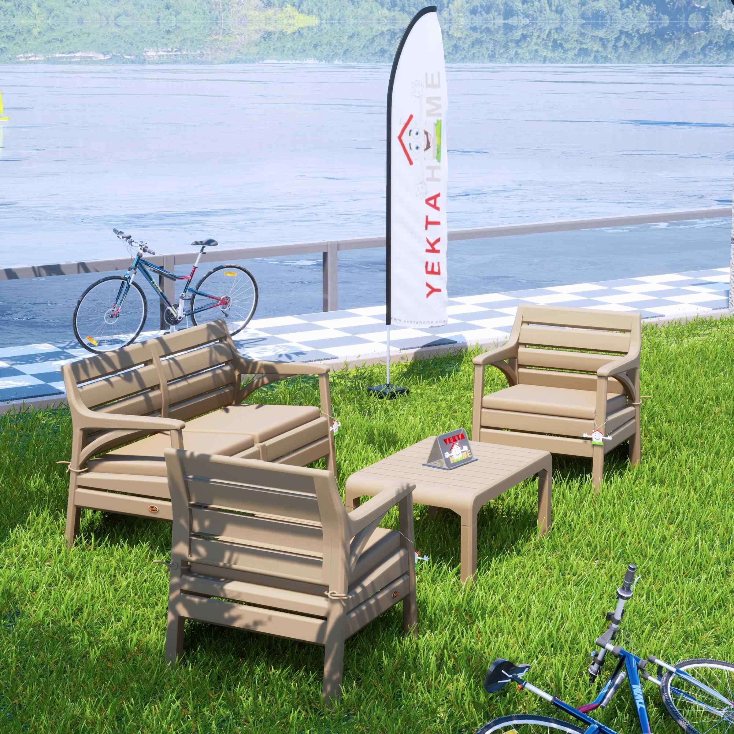 Holiday Miami Bahçe Takımı Balkon Seti Bahçe Mobilyası Cappucino