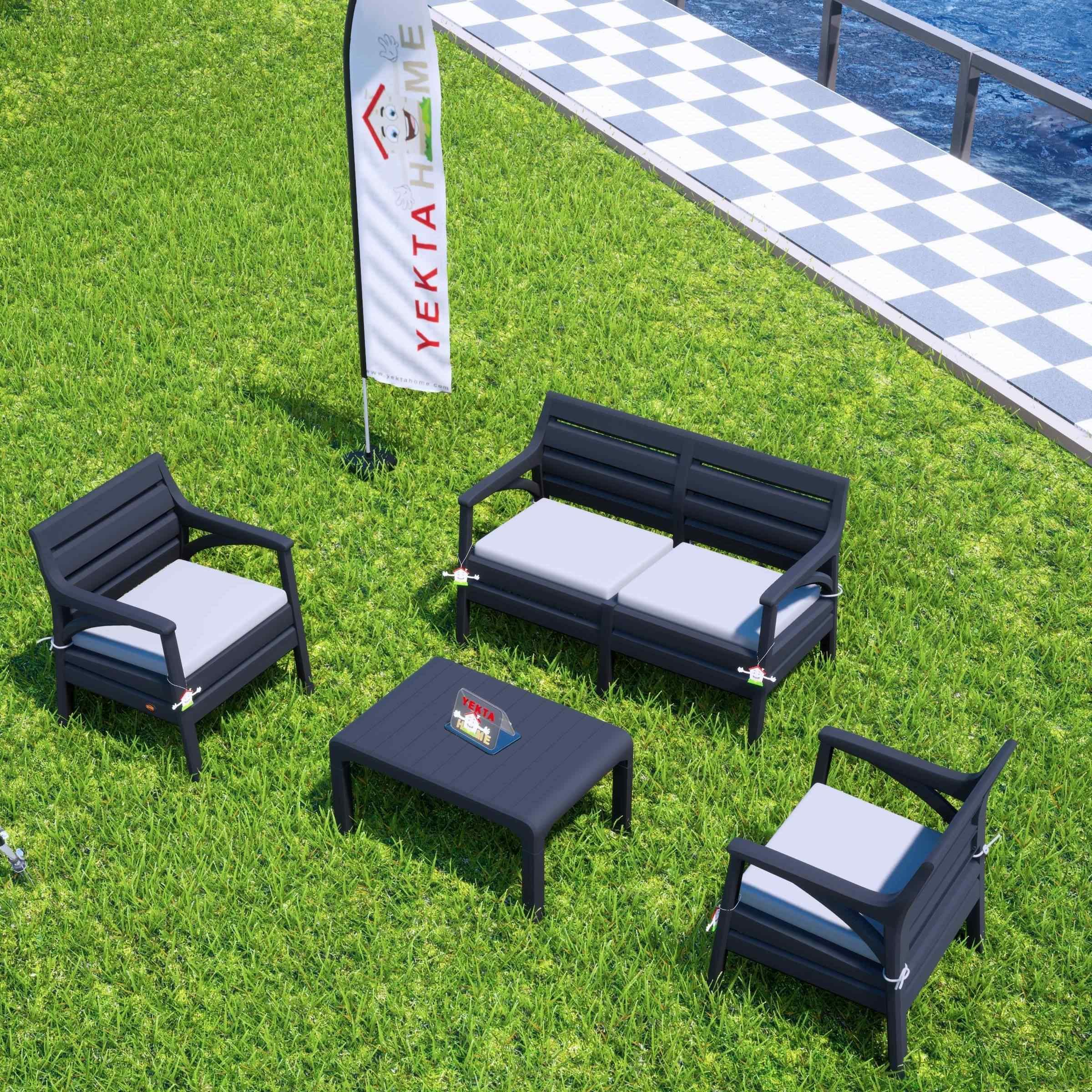 Holiday Miami Bahçe Takımı Balkon Seti Bahçe Mobilyası Antrasit
