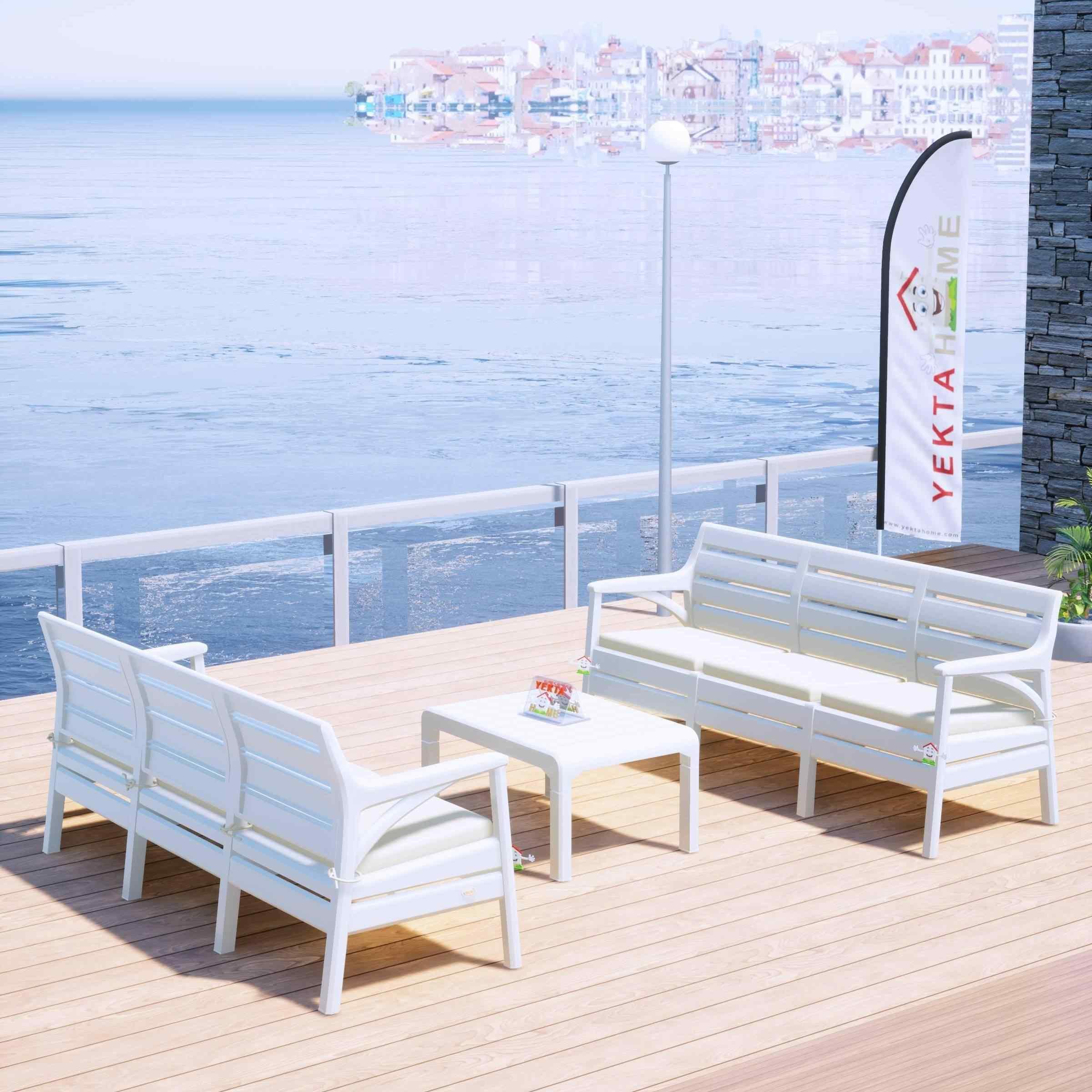 Holiday Milano Bahçe Takımı Oturma Grubu Balkon Seti Beyaz