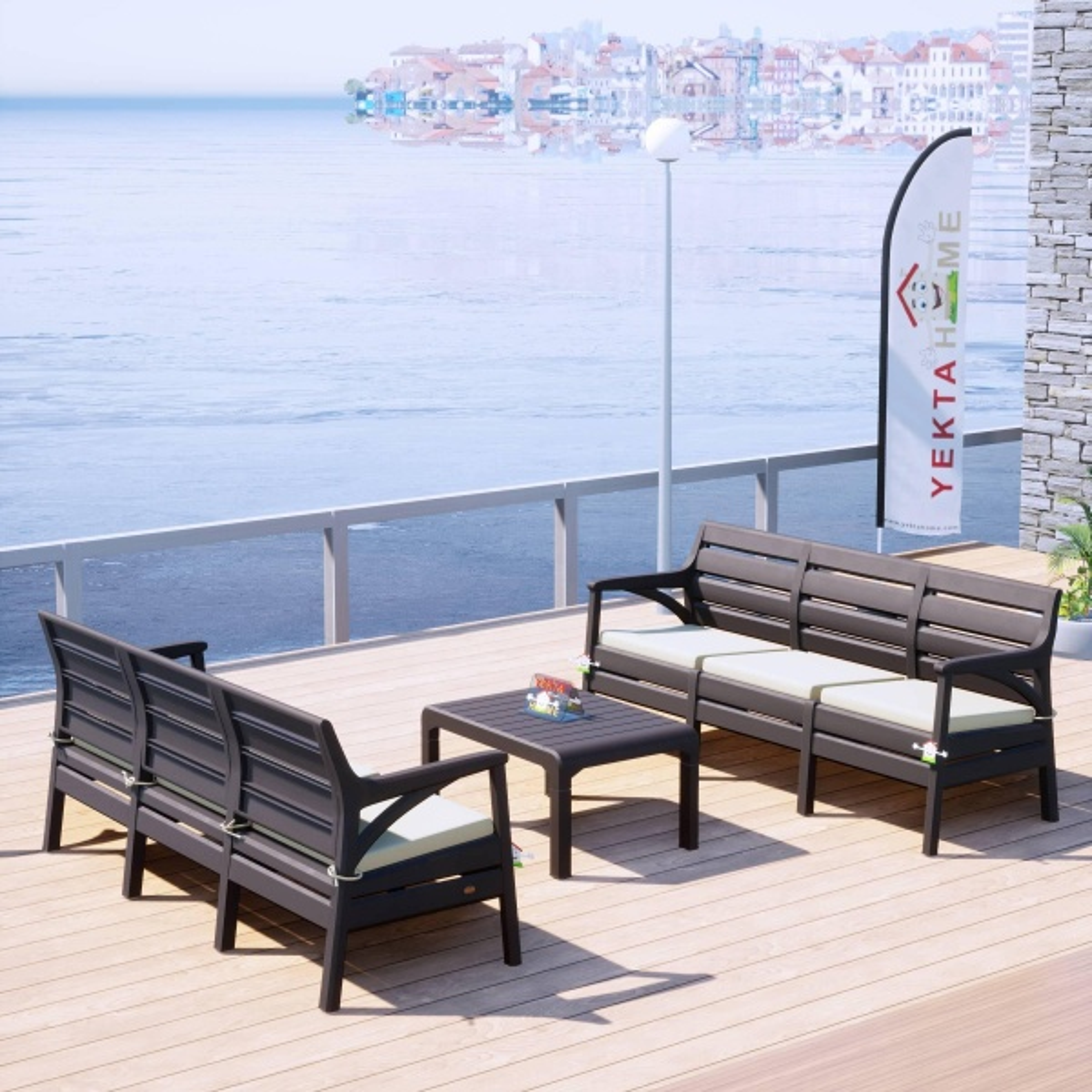 Holiday Milano Bahçe Takımı Oturma Grubu Balkon Seti Kahverengi