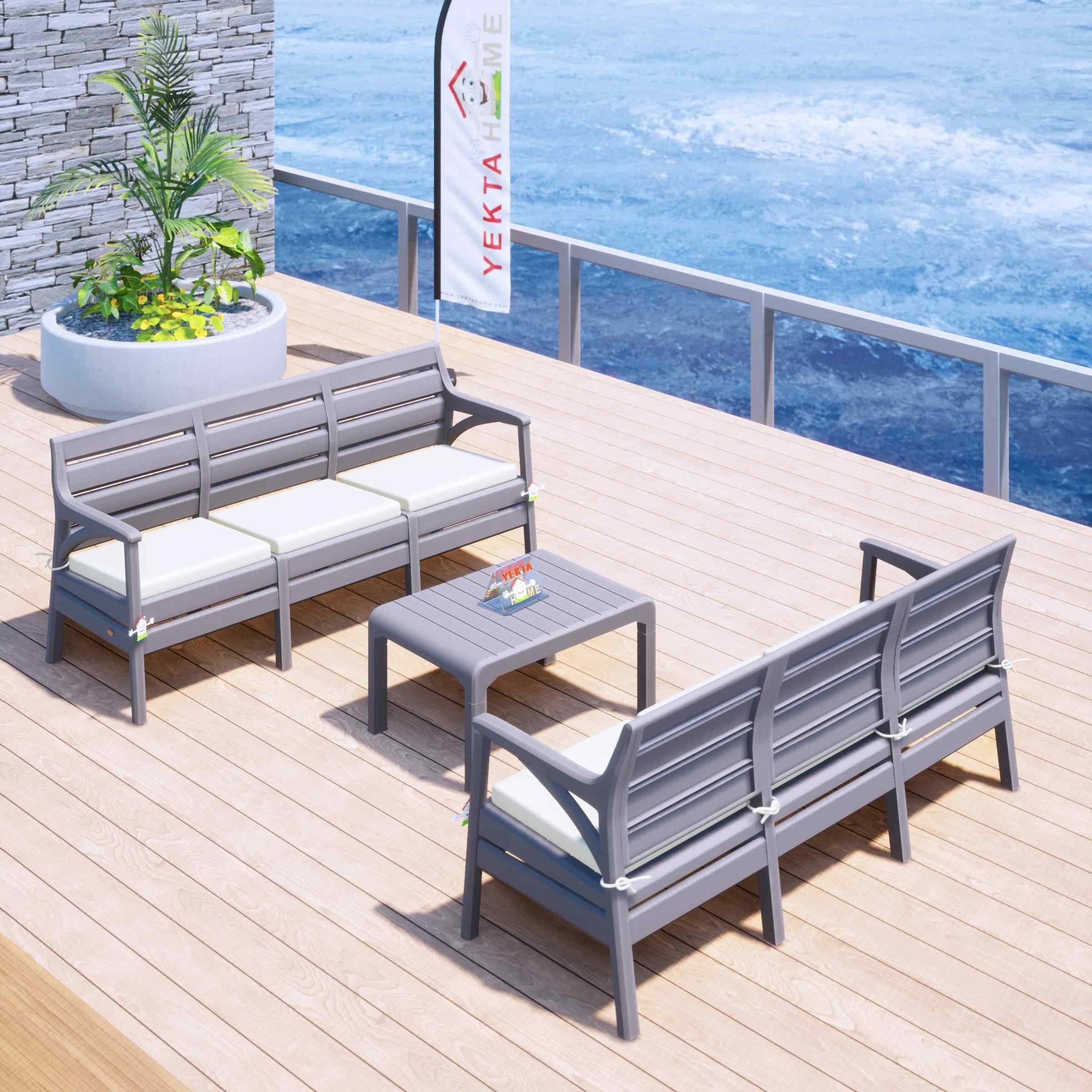 Holiday Milano Bahçe Takımı Oturma Grubu Balkon Seti Çöl Gri