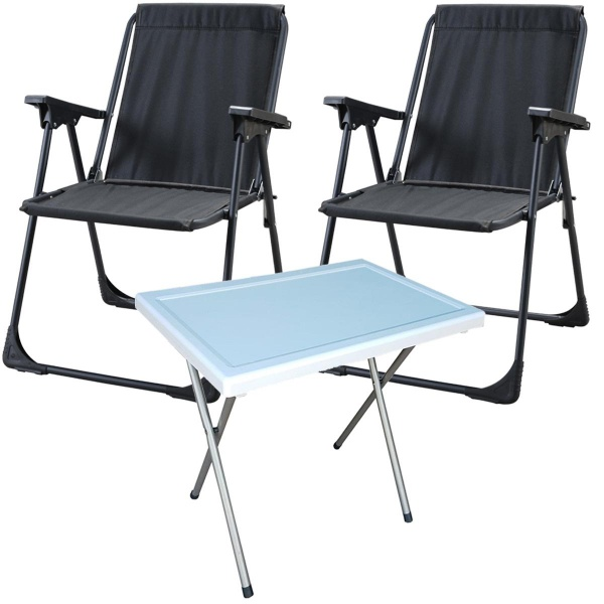 Starlüx Piknik Sandalye Masa Seti 42x60 Masa Ve 2li Kamp Sandalyesi Siyah