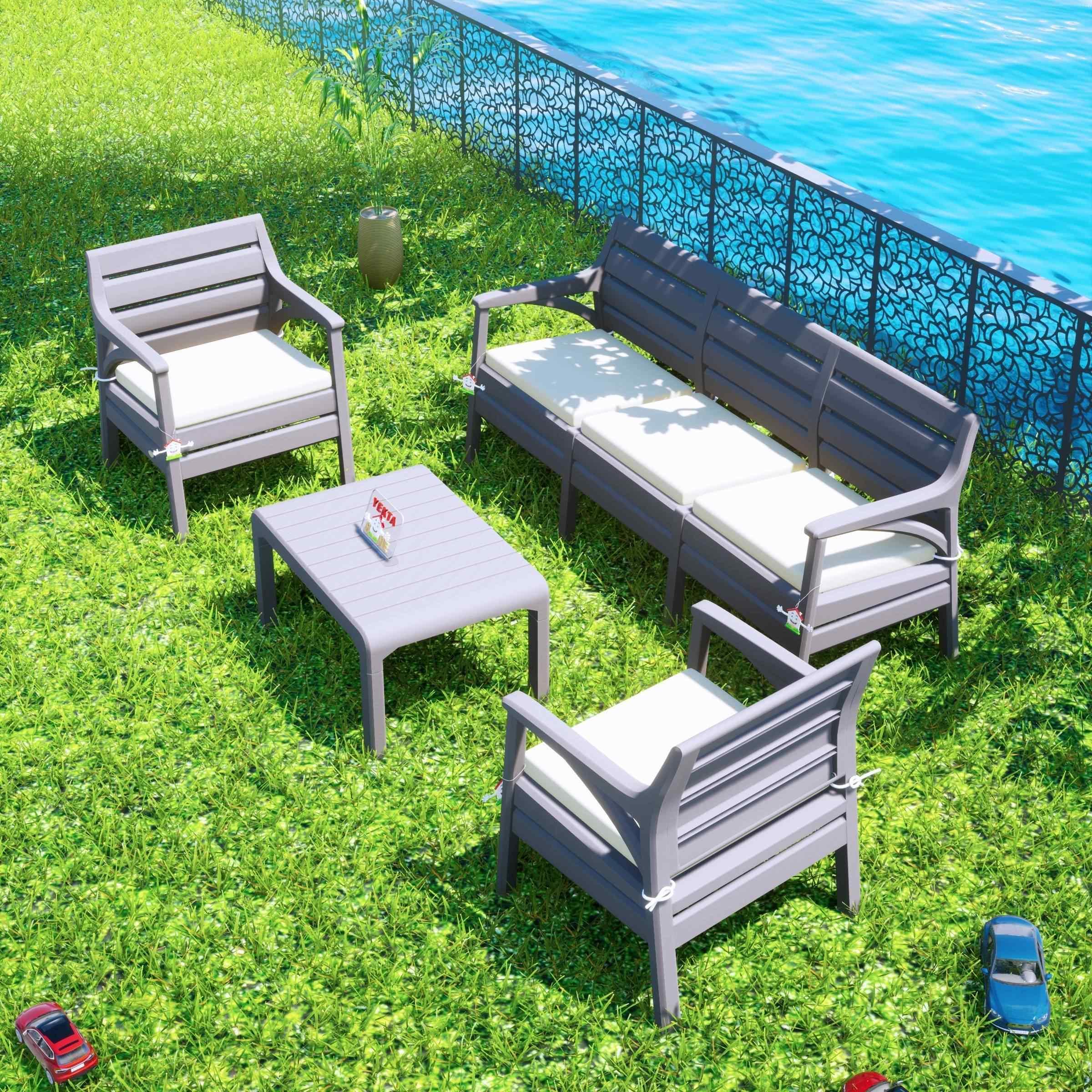 Holiday Hawai Oturma Grubu Bahçe Ve Balkon Koltuk Takımı Çöl Gri