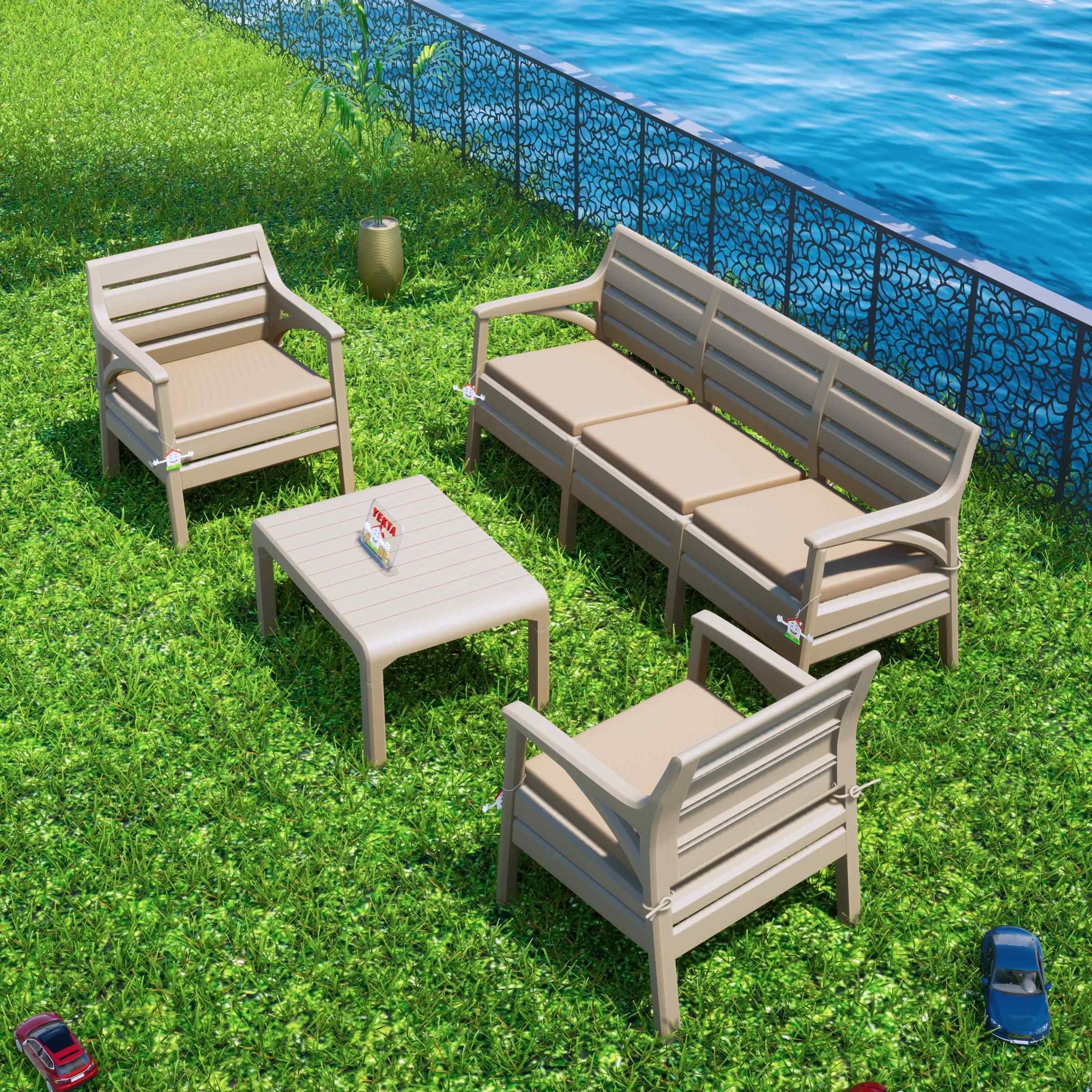 Holiday Hawai Bahçe Mobilyası Oturma Grubu Balkon Koltuk Takımı Cappucino