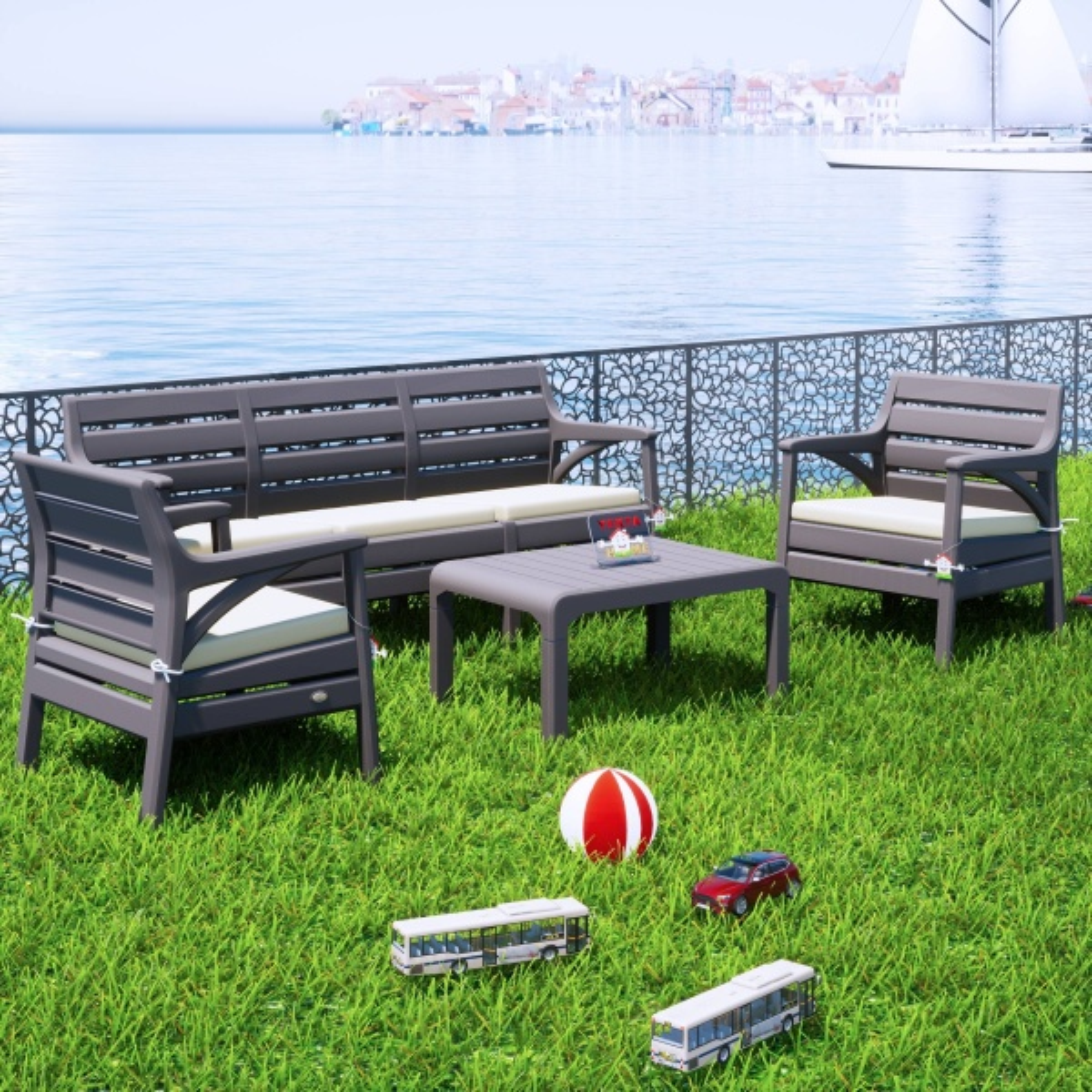 Holiday Hawai Bahçe Mobilyası Oturma Grubu Balkon Koltuk Takımı Gri